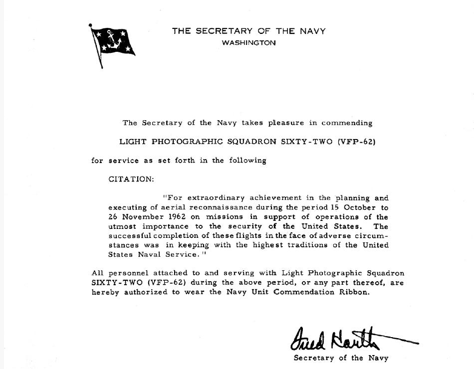 Cuban missile crisis secretary of the navy fred korths commendation letter to vfp 62 altavistaventures Image collections